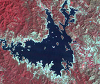 Landsat TM image of Kaengkrajan reservoir in drought season